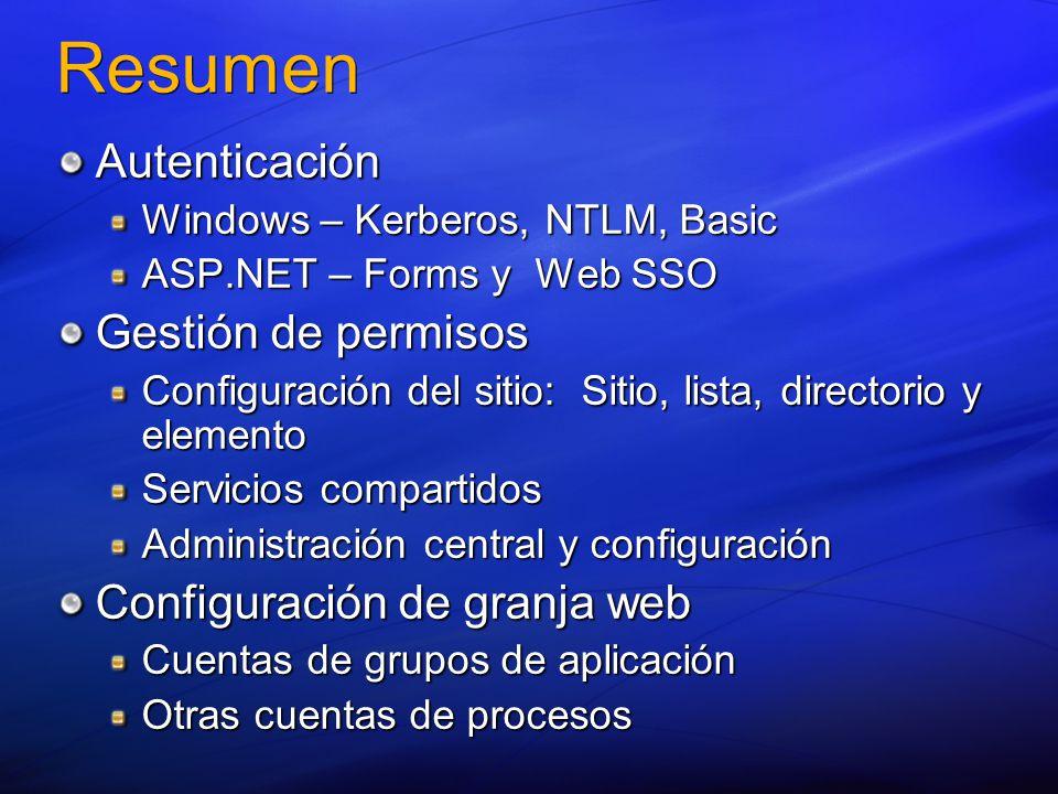 Resumen Autenticación Windows – Kerberos, NTLM, Basic ASP.NET – Forms y Web SSO Gestión de permisos Configuración del sitio: Sitio, lista, directorio y elemento Servicios compartidos Administración central y configuración Configuración de granja web Cuentas de grupos de aplicación Otras cuentas de procesos