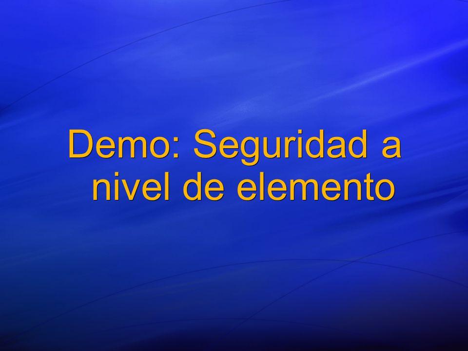 Demo: Seguridad a nivel de elemento