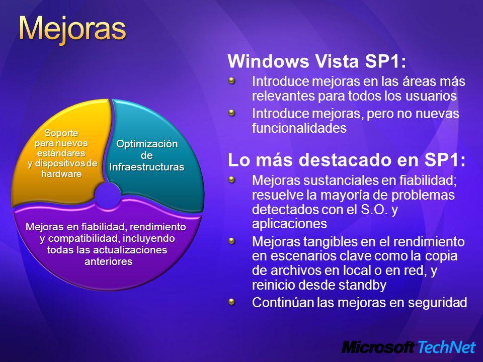 Windows Vista SP1: Introduce mejoras en las áreas más relevantes para todos los usuarios Introduce mejoras, pero no nuevas funcionalidades Lo más destacado en SP1: Mejoras sustanciales en fiabilidad; resuelve la mayoría de problemas detectados con el S.O.