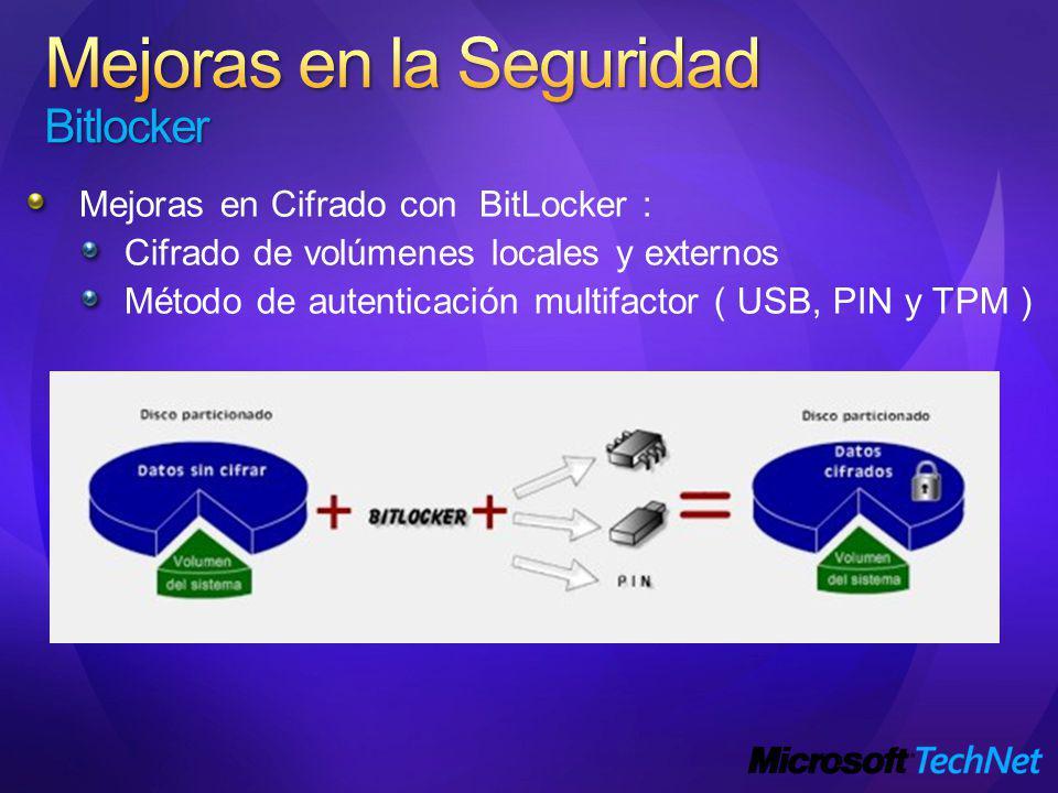 Mejoras en Cifrado con BitLocker : Cifrado de volúmenes locales y externos Método de autenticación multifactor ( USB, PIN y TPM )