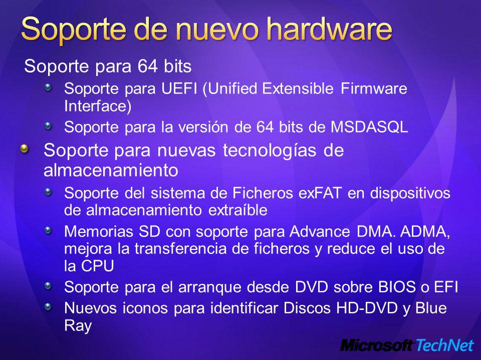 Soporte para 64 bits Soporte para UEFI (Unified Extensible Firmware Interface) Soporte para la versión de 64 bits de MSDASQL Soporte para nuevas tecnologías de almacenamiento Soporte del sistema de Ficheros exFAT en dispositivos de almacenamiento extraíble Memorias SD con soporte para Advance DMA.