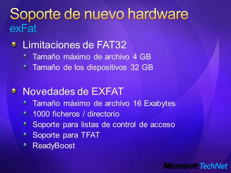 Limitaciones de FAT32 Tamaño máximo de archivo 4 GB Tamaño de los dispositivos 32 GB Novedades de EXFAT Tamaño máximo de archivo 16 Exabytes 1000 ficheros / directorio Soporte para listas de control de acceso Soporte para TFAT ReadyBoost
