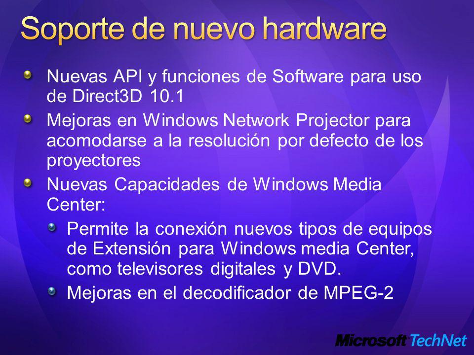 Nuevas API y funciones de Software para uso de Direct3D 10.1 Mejoras en Windows Network Projector para acomodarse a la resolución por defecto de los proyectores Nuevas Capacidades de Windows Media Center: Permite la conexión nuevos tipos de equipos de Extensión para Windows media Center, como televisores digitales y DVD.