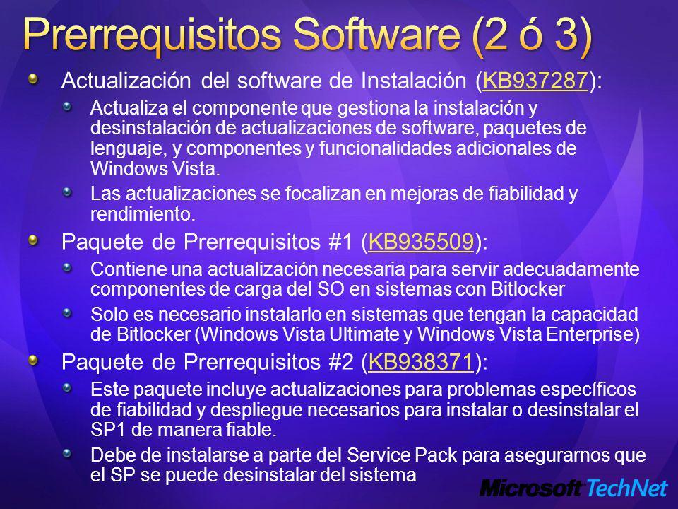 Actualización del software de Instalación (KB937287):KB937287 Actualiza el componente que gestiona la instalación y desinstalación de actualizaciones de software, paquetes de lenguaje, y componentes y funcionalidades adicionales de Windows Vista.