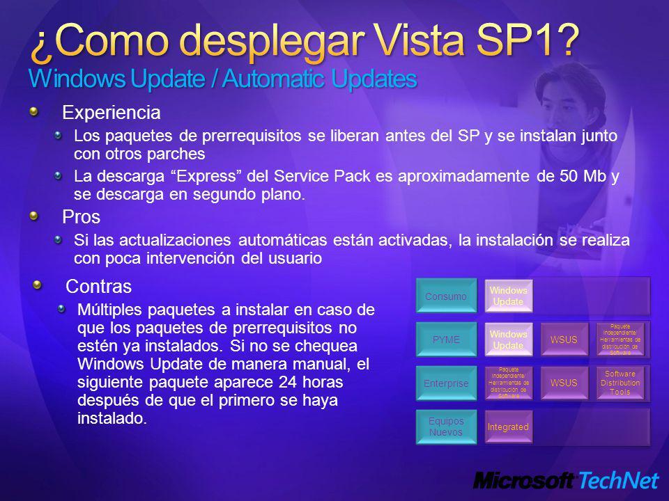 Experiencia Los paquetes de prerrequisitos se liberan antes del SP y se instalan junto con otros parches La descarga Express del Service Pack es aproximadamente de 50 Mb y se descarga en segundo plano.