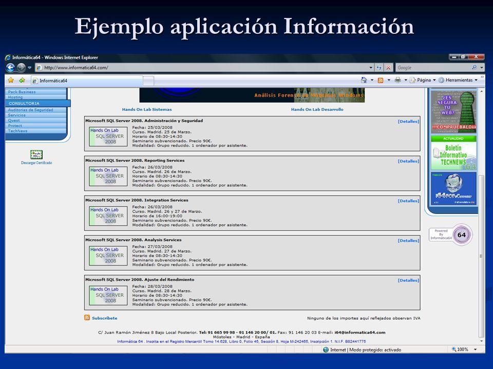 Ejemplo aplicación Información