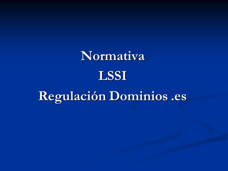 NormativaLSSI Regulación Dominios.es