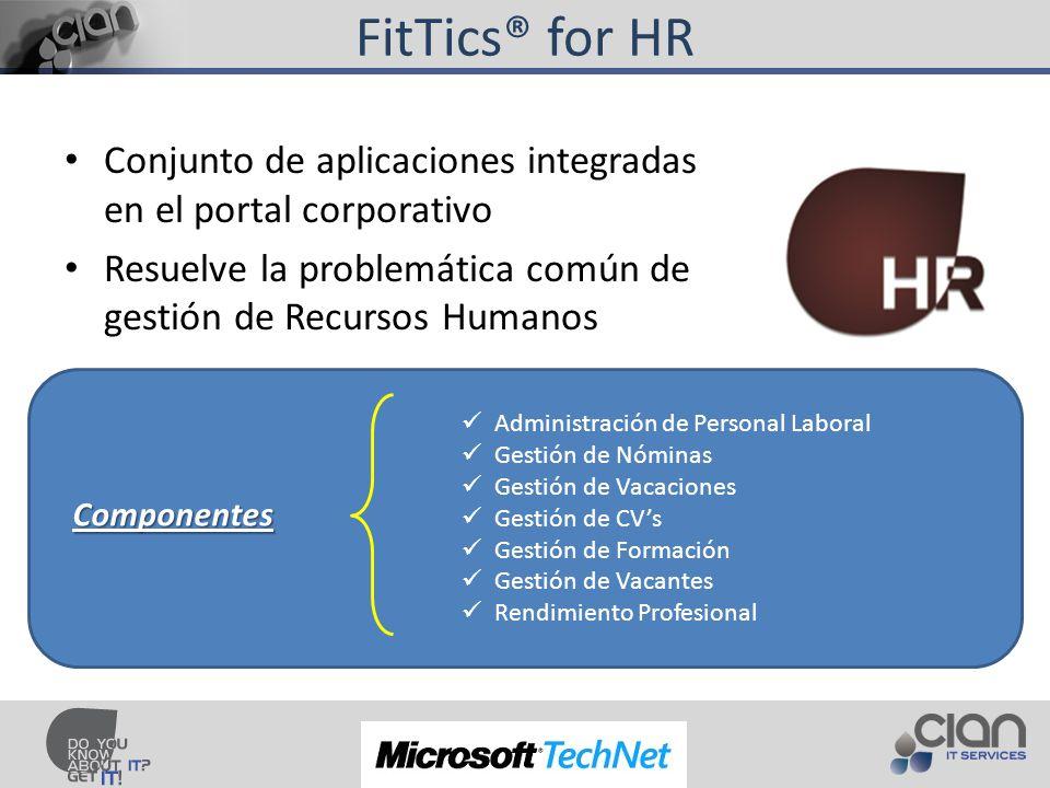 FitTics® for HR Conjunto de aplicaciones integradas en el portal corporativo Resuelve la problemática común de gestión de Recursos Humanos Administración de Personal Laboral Gestión de Nóminas Gestión de Vacaciones Gestión de CVs Gestión de Formación Gestión de Vacantes Rendimiento Profesional Componentes