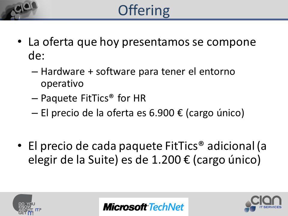 Offering La oferta que hoy presentamos se compone de: – Hardware + software para tener el entorno operativo – Paquete FitTics® for HR – El precio de la oferta es 6.900 (cargo único) El precio de cada paquete FitTics® adicional (a elegir de la Suite) es de 1.200 (cargo único)