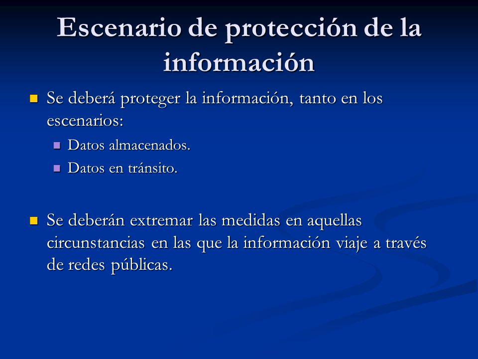 Escenario de protección de la información Se deberá proteger la información, tanto en los escenarios: Se deberá proteger la información, tanto en los