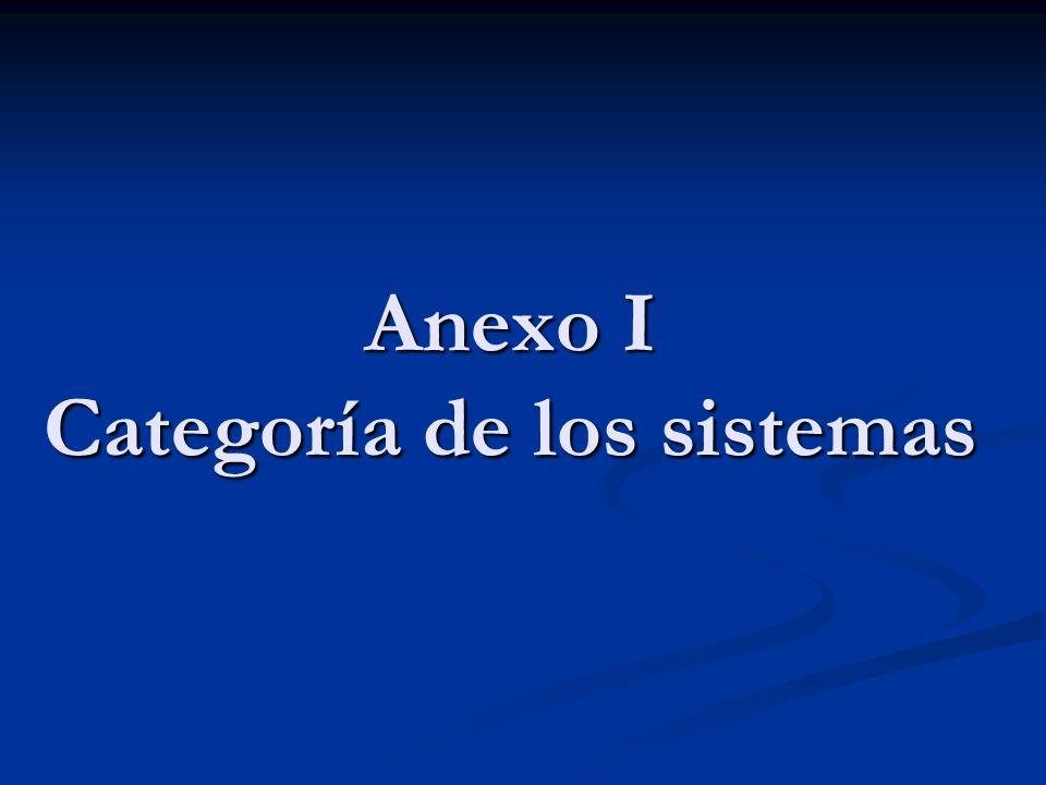 Anexo I Categoría de los sistemas