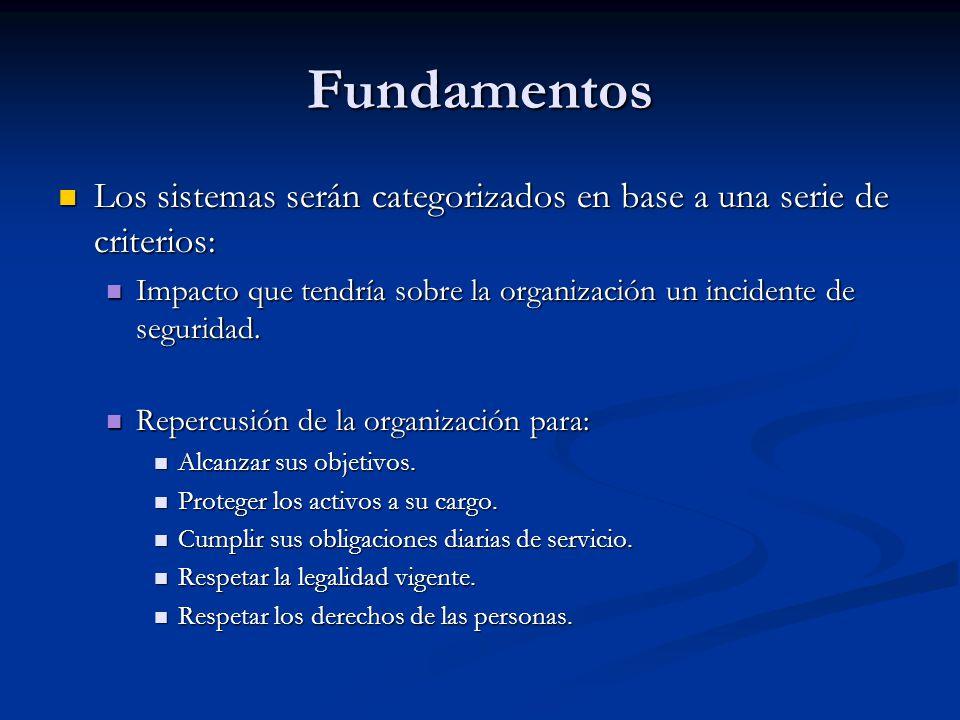 Fundamentos Los sistemas serán categorizados en base a una serie de criterios: Los sistemas serán categorizados en base a una serie de criterios: Impa