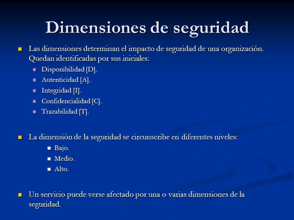 Dimensiones de seguridad Las dimensiones determinan el impacto de seguridad de una organización. Quedan identificadas por sus iniciales: Las dimension