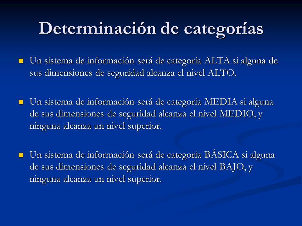 Determinación de categorías Un sistema de información será de categoría ALTA si alguna de sus dimensiones de seguridad alcanza el nivel ALTO. Un siste