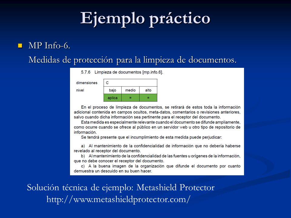 Ejemplo práctico MP Info-6. MP Info-6. Medidas de protección para la limpieza de documentos. Solución técnica de ejemplo: Metashield Protector http://