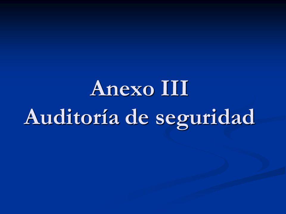 Anexo III Auditoría de seguridad