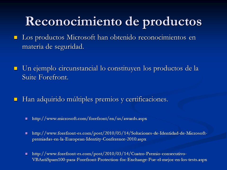 Reconocimiento de productos Los productos Microsoft han obtenido reconocimientos en materia de seguridad. Los productos Microsoft han obtenido reconoc