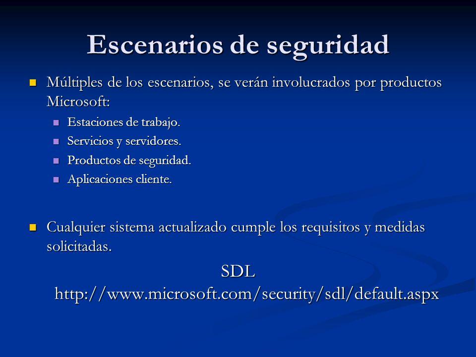 Escenarios de seguridad Múltiples de los escenarios, se verán involucrados por productos Microsoft: Múltiples de los escenarios, se verán involucrados