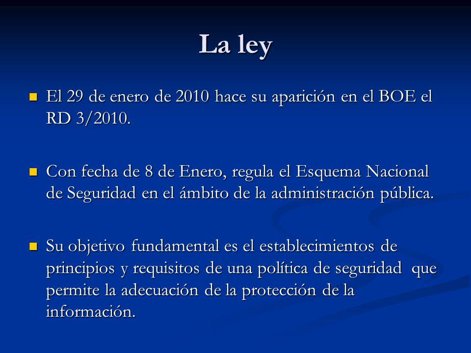 La ley El 29 de enero de 2010 hace su aparición en el BOE el RD 3/2010. El 29 de enero de 2010 hace su aparición en el BOE el RD 3/2010. Con fecha de