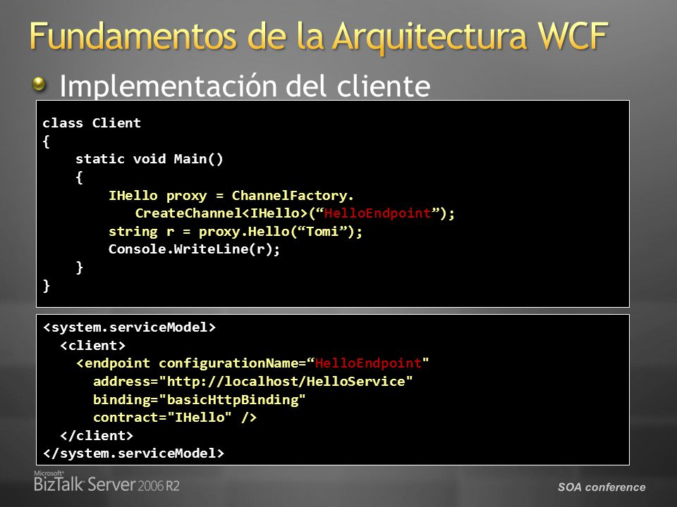 SOA conference Implementación del cliente class Client { static void Main() static void Main() { IHello proxy = ChannelFactory. IHello proxy = Channel