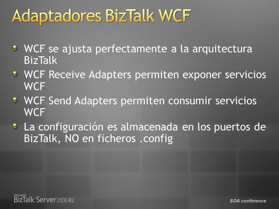 SOA conference WCF se ajusta perfectamente a la arquitectura BizTalk WCF Receive Adapters permiten exponer servicios WCF WCF Send Adapters permiten consumir servicios WCF La configuración es almacenada en los puertos de BizTalk, NO en ficheros.config