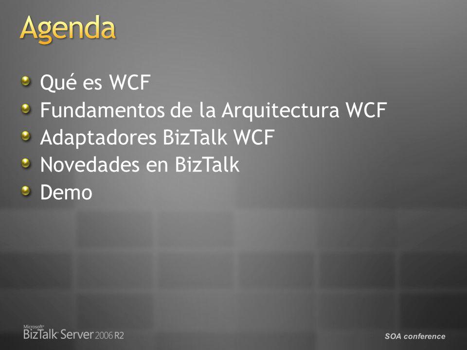Qué es WCF Fundamentos de la Arquitectura WCF Adaptadores BizTalk WCF Novedades en BizTalk Demo