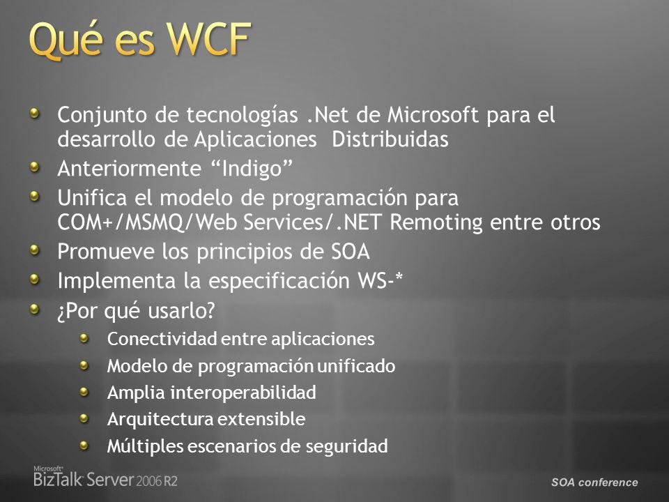 SOA conference Conjunto de tecnologías.Net de Microsoft para el desarrollo de Aplicaciones Distribuidas Anteriormente Indigo Unifica el modelo de programación para COM+/MSMQ/Web Services/.NET Remoting entre otros Promueve los principios de SOA Implementa la especificación WS-* ¿Por qué usarlo.