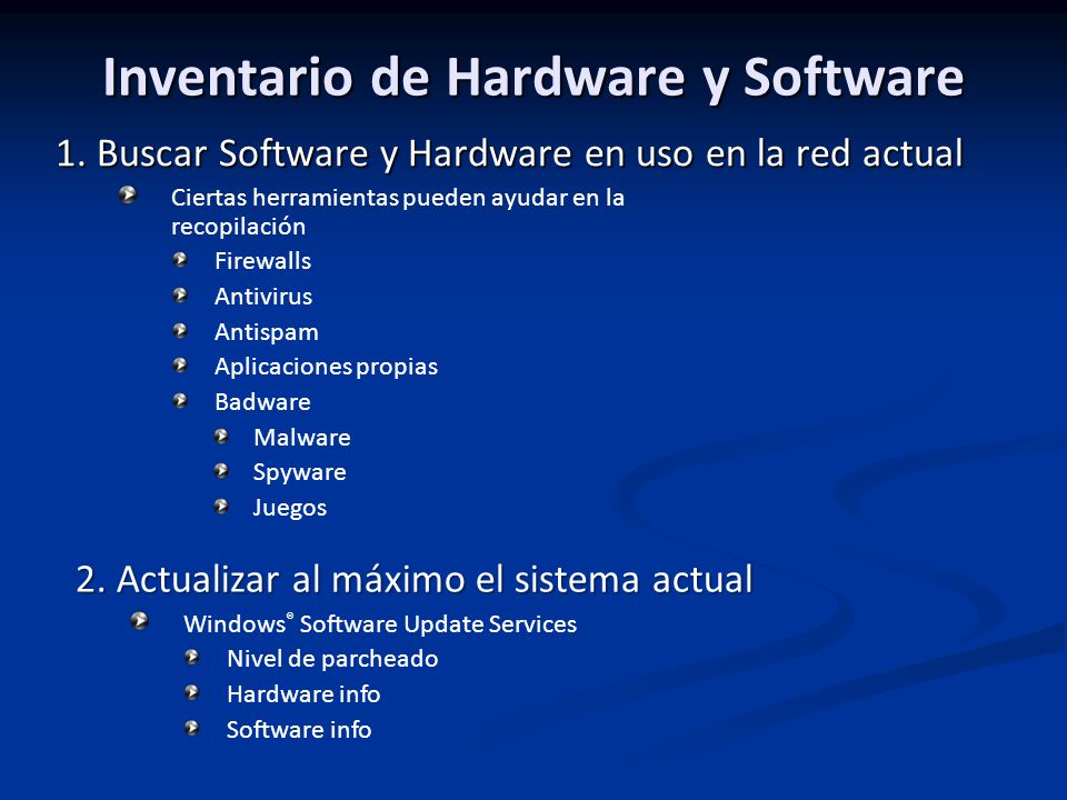 Inventario de Hardware y Software 1.