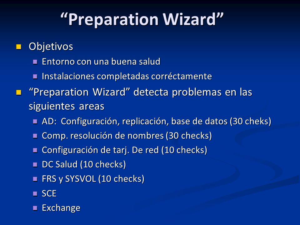 Preparation Wizard Objetivos Objetivos Entorno con una buena salud Entorno con una buena salud Instalaciones completadas corréctamente Instalaciones completadas corréctamente Preparation Wizard detecta problemas en las siguientes areas Preparation Wizard detecta problemas en las siguientes areas AD: Configuración, replicación, base de datos (30 cheks) AD: Configuración, replicación, base de datos (30 cheks) Comp.