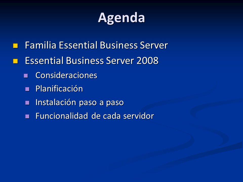 Agenda Familia Essential Business Server Familia Essential Business Server Essential Business Server 2008 Essential Business Server 2008 Consideraciones Consideraciones Planificación Planificación Instalación paso a paso Instalación paso a paso Funcionalidad de cada servidor Funcionalidad de cada servidor
