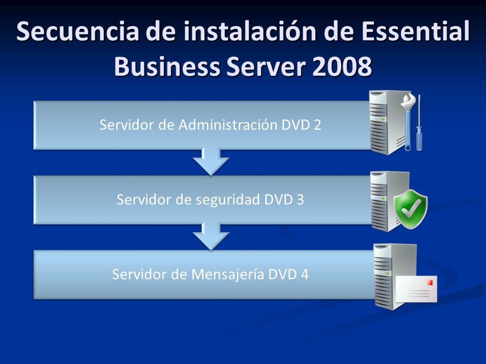 Secuencia de instalación de Essential Business Server 2008 Servidor de Mensajería DVD 4 Servidor de seguridad DVD 3 Servidor de Administración DVD 2