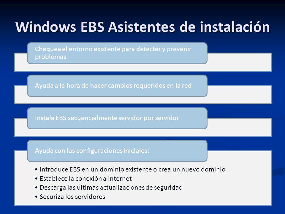 Windows EBS Asistentes de instalación Chequea el entorno existente para detectar y prevenir problemas Ayuda a la hora de hacer cambios requeridos en la redInstala EBS secuencialmente servidor por servidor Introduce EBS en un dominio existente o crea un nuevo dominio Establece la conexión a internet Descarga las últimas actualizaciones de seguridad Securiza los servidores Ayuda con las configuraciones iniciales: