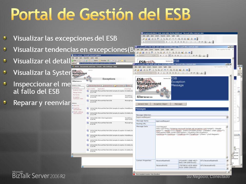 Su Negocio, Conectado Visualizar las excepciones del ESB Visualizar tendencias en excepciones(BAM) Visualizar el detalle del error del ESB Visualizar