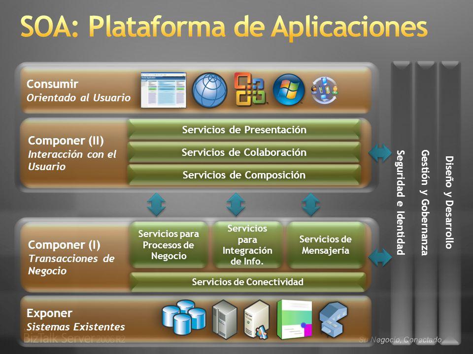 Componer (II) Interacción con el Usuario Componer (I) Transacciones de Negocio Exponer Sistemas Existentes Consumir Orientado al Usuario Servicios de