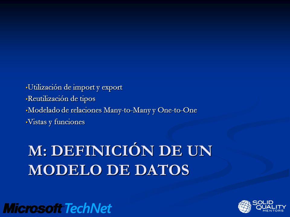 M: DEFINICIÓN DE UN MODELO DE DATOS Utilización de import y export Utilización de import y export Reutilización de tipos Reutilización de tipos Modelado de relaciones Many-to-Many y One-to-One Modelado de relaciones Many-to-Many y One-to-One Vistas y funciones Vistas y funciones