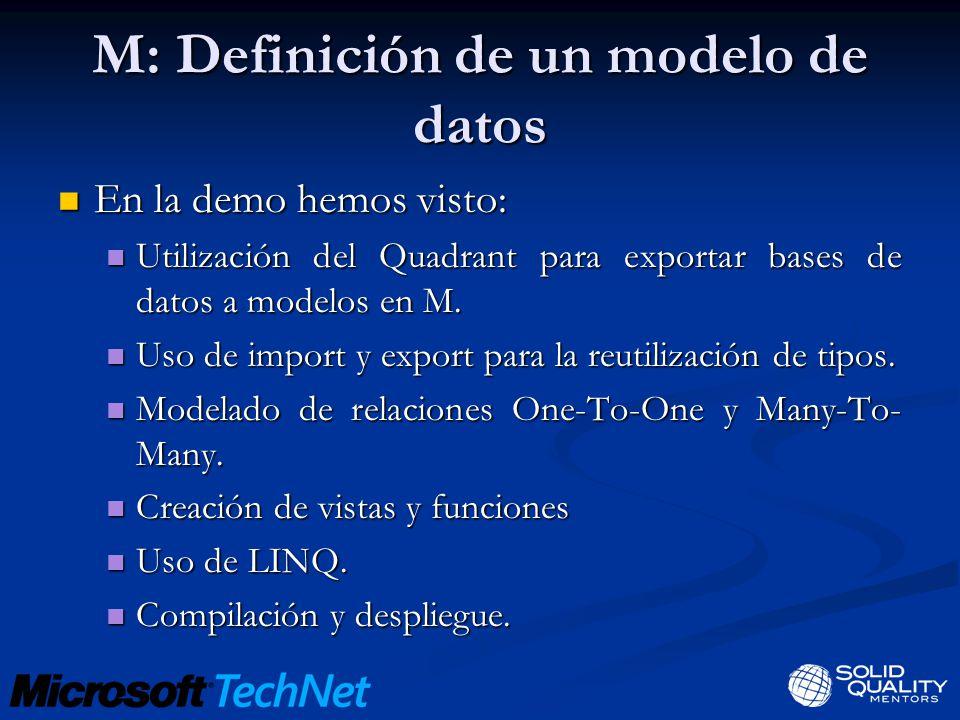 M: Definición de un modelo de datos En la demo hemos visto: En la demo hemos visto: Utilización del Quadrant para exportar bases de datos a modelos en M.