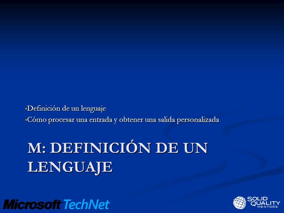 M: DEFINICIÓN DE UN LENGUAJE Definición de un lenguaje Definición de un lenguaje Cómo procesar una entrada y obtener una salida personalizada Cómo procesar una entrada y obtener una salida personalizada