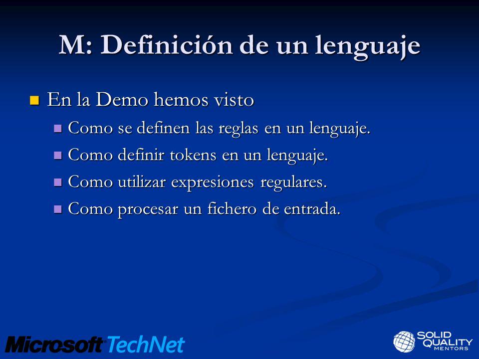 M: Definición de un lenguaje En la Demo hemos visto En la Demo hemos visto Como se definen las reglas en un lenguaje.