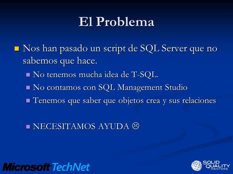 El Problema Nos han pasado un script de SQL Server que no sabemos que hace.
