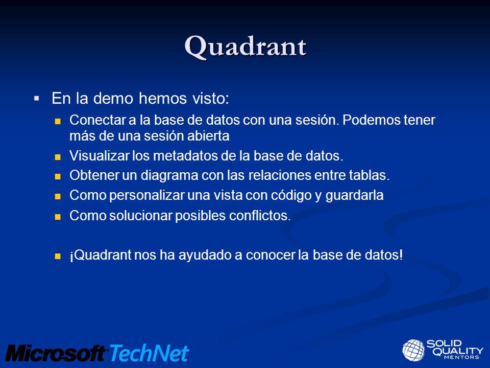 Quadrant En la demo hemos visto: Conectar a la base de datos con una sesión.