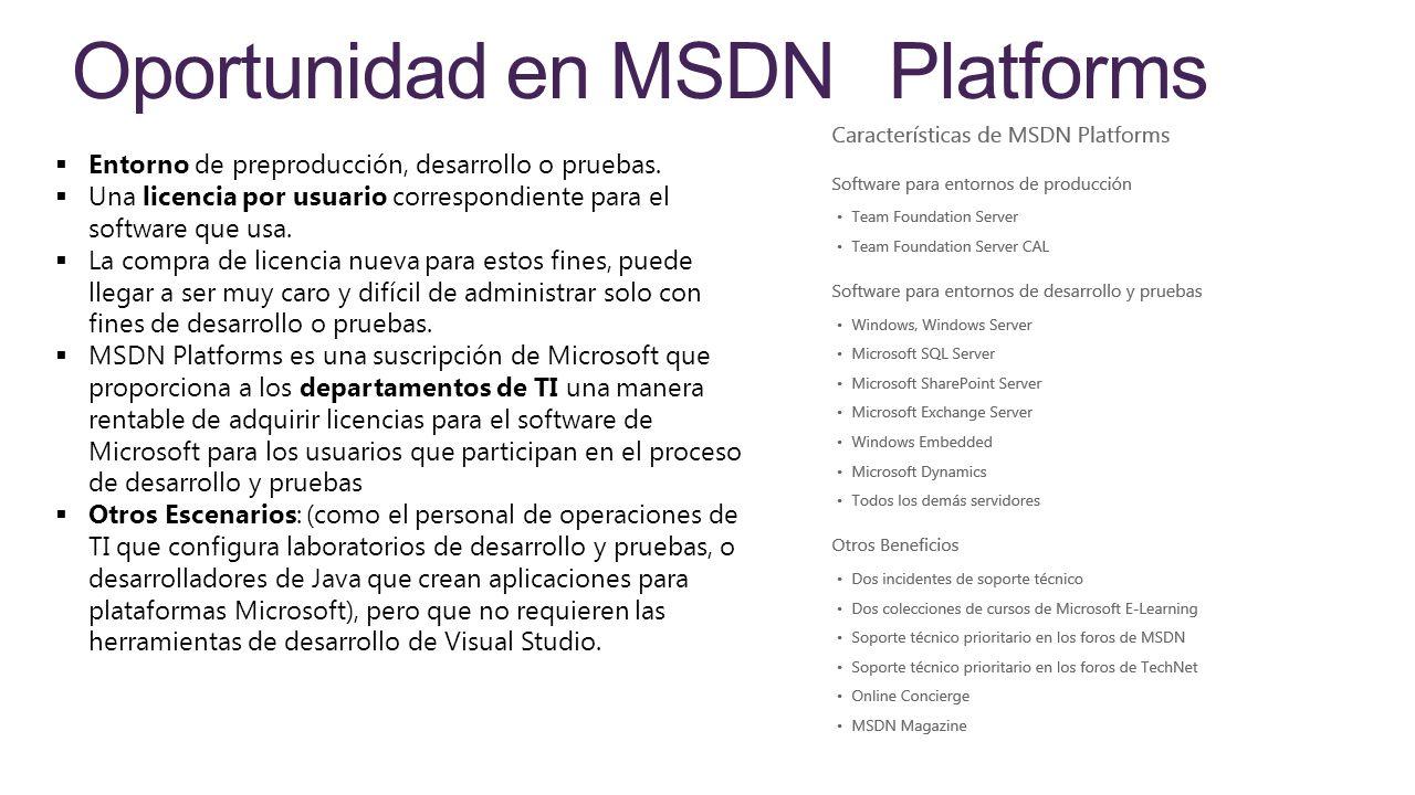 Oportunidad en MSDN Platforms Entorno de preproducción, desarrollo o pruebas. Una licencia por usuario correspondiente para el software que usa. La co
