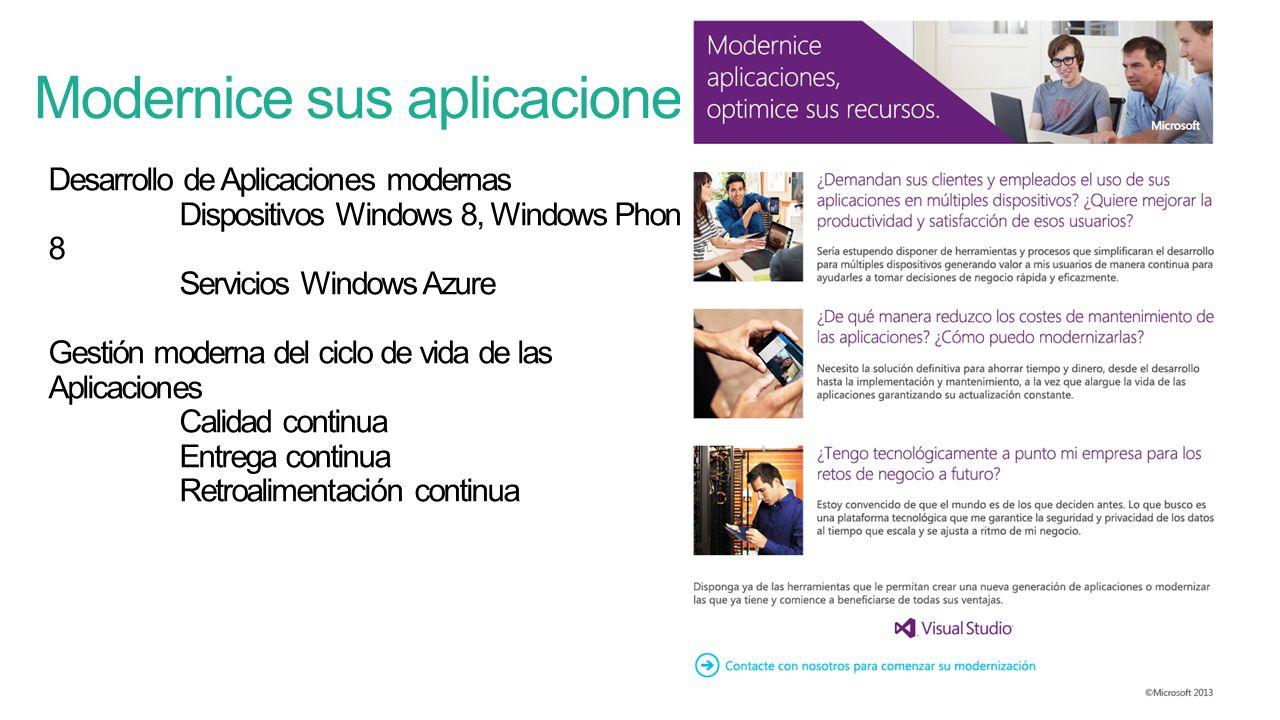 Desarrollo de Aplicaciones modernas Dispositivos Windows 8, Windows Phone 8 Servicios Windows Azure Gestión moderna del ciclo de vida de las Aplicaciones Calidad continua Entrega continua Retroalimentación continua Modernice sus aplicaciones