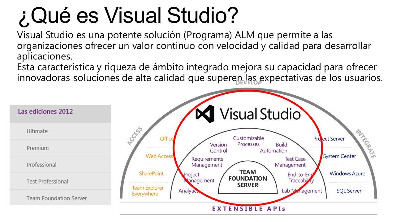 Visual Studio es una potente solución (Programa) ALM que permite a las organizaciones ofrecer un valor continuo con velocidad y calidad para desarroll