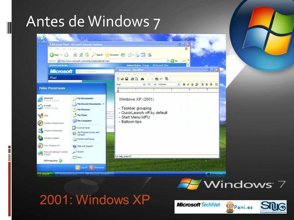 Antes de Windows 7 Pani.es 2001: Windows XP