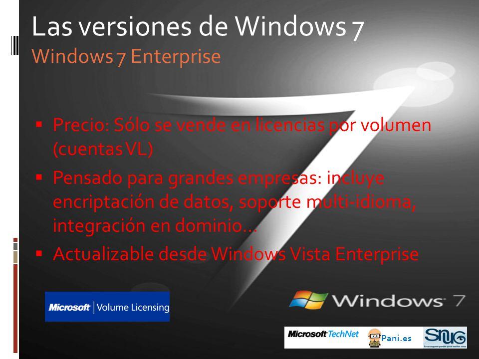 Precio: Sólo se vende en licencias por volumen (cuentas VL) Pensado para grandes empresas: incluye encriptación de datos, soporte multi-idioma, integración en dominio… Actualizable desde Windows Vista Enterprise Las versiones de Windows 7 Windows 7 Enterprise Pani.es