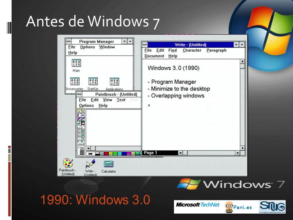 Antes de Windows 7 Pani.es 1995: Windows 95