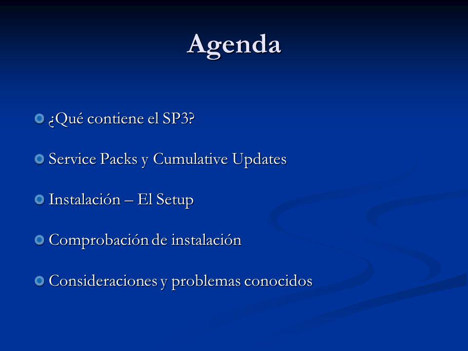 Agenda ¿Qué contiene el SP3.