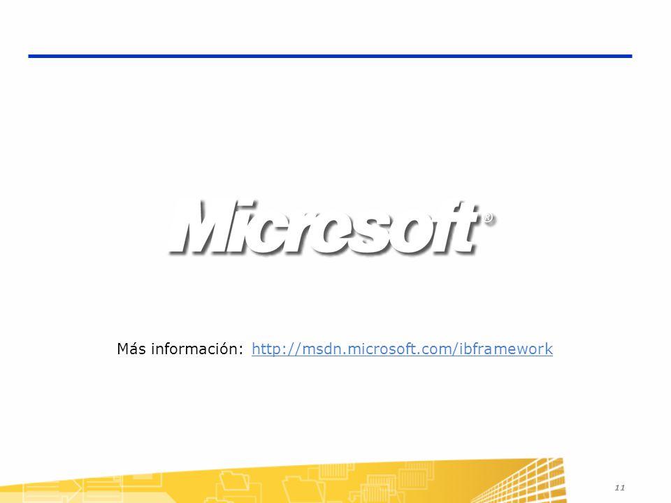 11 Más información: http://msdn.microsoft.com/ibframeworkhttp://msdn.microsoft.com/ibframework