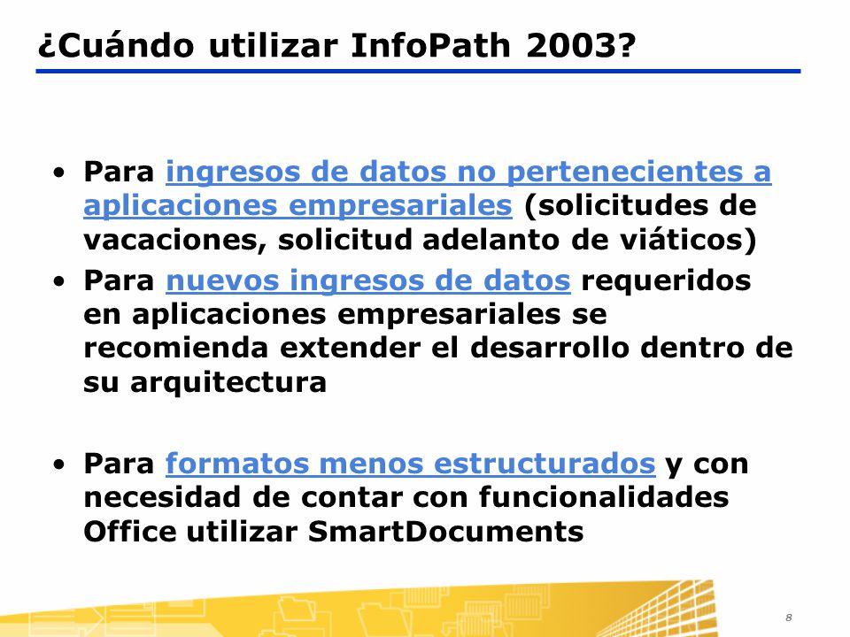 8 Para ingresos de datos no pertenecientes a aplicaciones empresariales (solicitudes de vacaciones, solicitud adelanto de viáticos) Para nuevos ingres