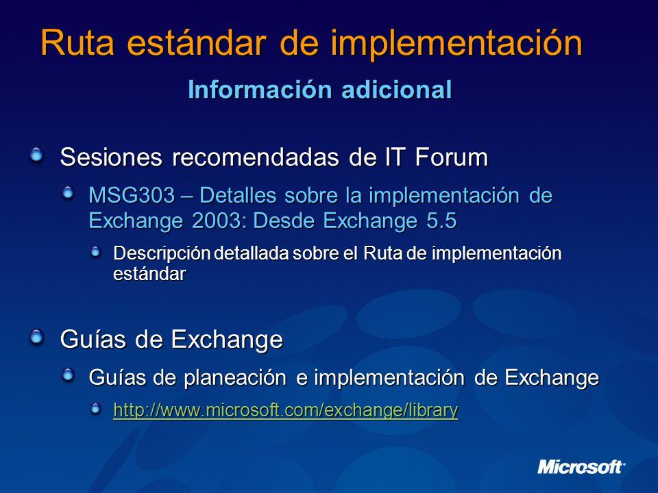 Sesiones recomendadas de IT Forum MSG303 – Detalles sobre la implementación de Exchange 2003: Desde Exchange 5.5 Descripción detallada sobre el Ruta de implementación estándar Guías de Exchange Guías de planeación e implementación de Exchange http://www.microsoft.com/exchange/library Ruta estándar de implementación Información adicional
